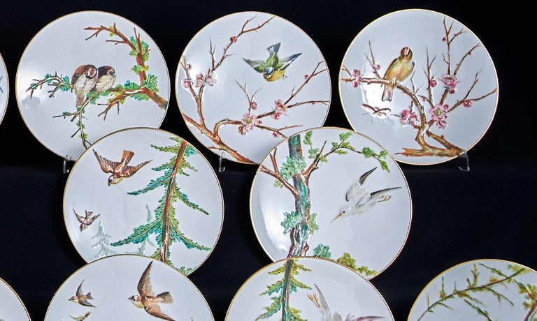 E J D Bodley Relief 24 Moulded Pieces Bone China Dessert Service In Excellent Condition For Sale In London, GB