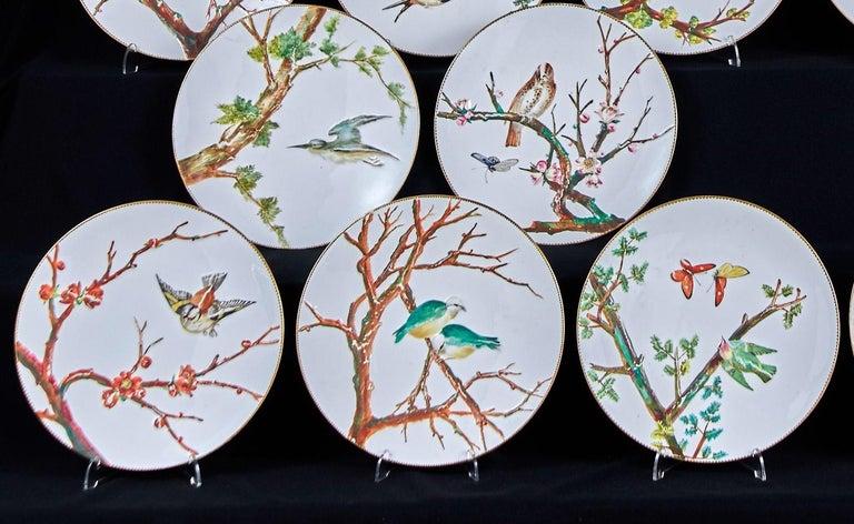 Porcelain E J D Bodley Relief 24 Moulded Pieces Bone China Dessert Service For Sale