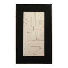 Abstract Geometric Black and White Mixed Media Sculptural Painting