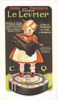 Le Levrier original vintage French shoe cream poster