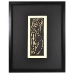E. M. Washington Wood Block Print Male Nude, 1935