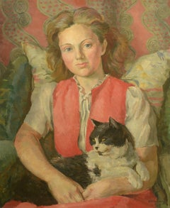 """""""A Girl with Her Cat, 1947,"""" EM Watts, oil on canvas, portrait"""