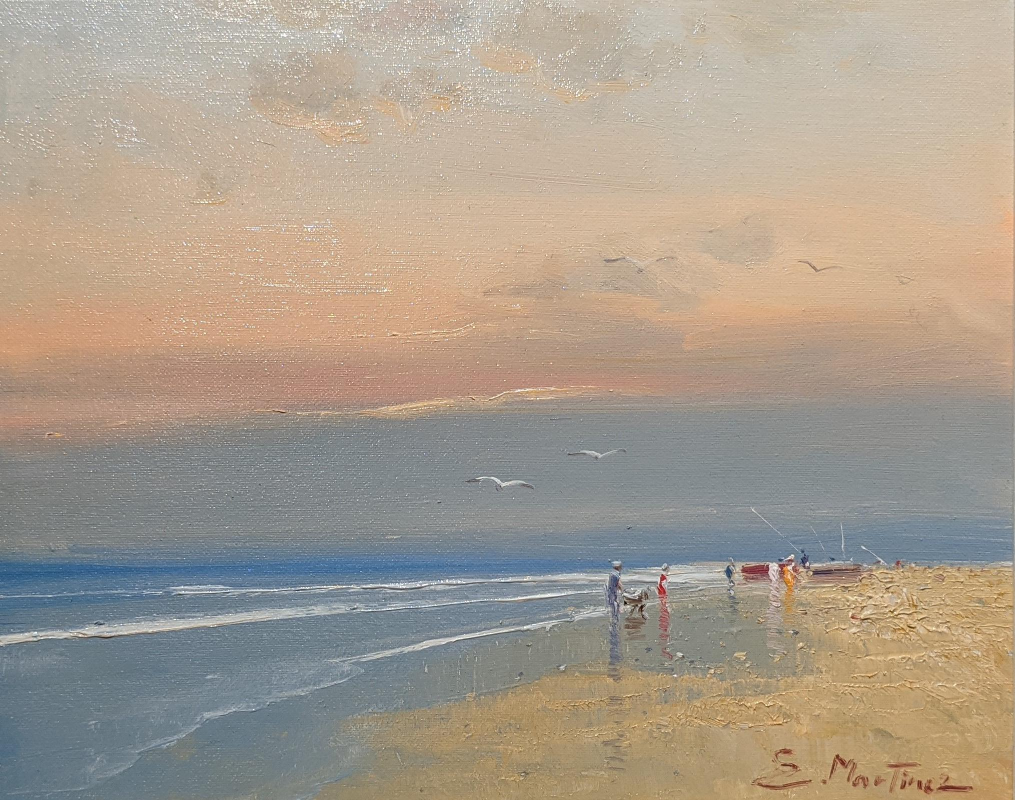 'An Evening Stroll' Contemporary beach landscape painting with sea, sand and sky