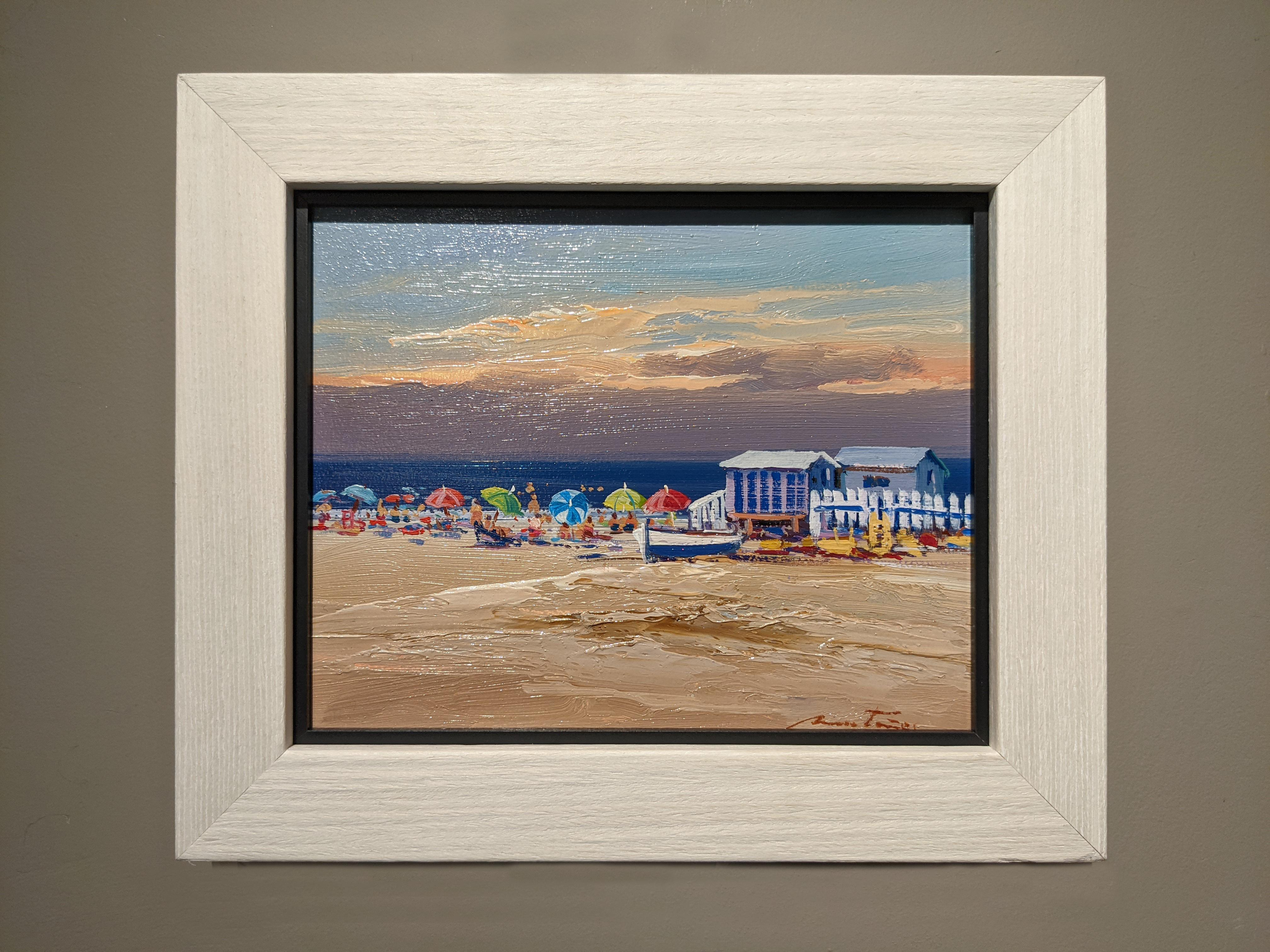 'Candy Parasols' Contemporary colourful beach landscape of parasols, sky & water