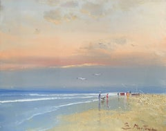 Contemporary beach scene 'Chasing the Waves' by Contemporary painter E. Martinez