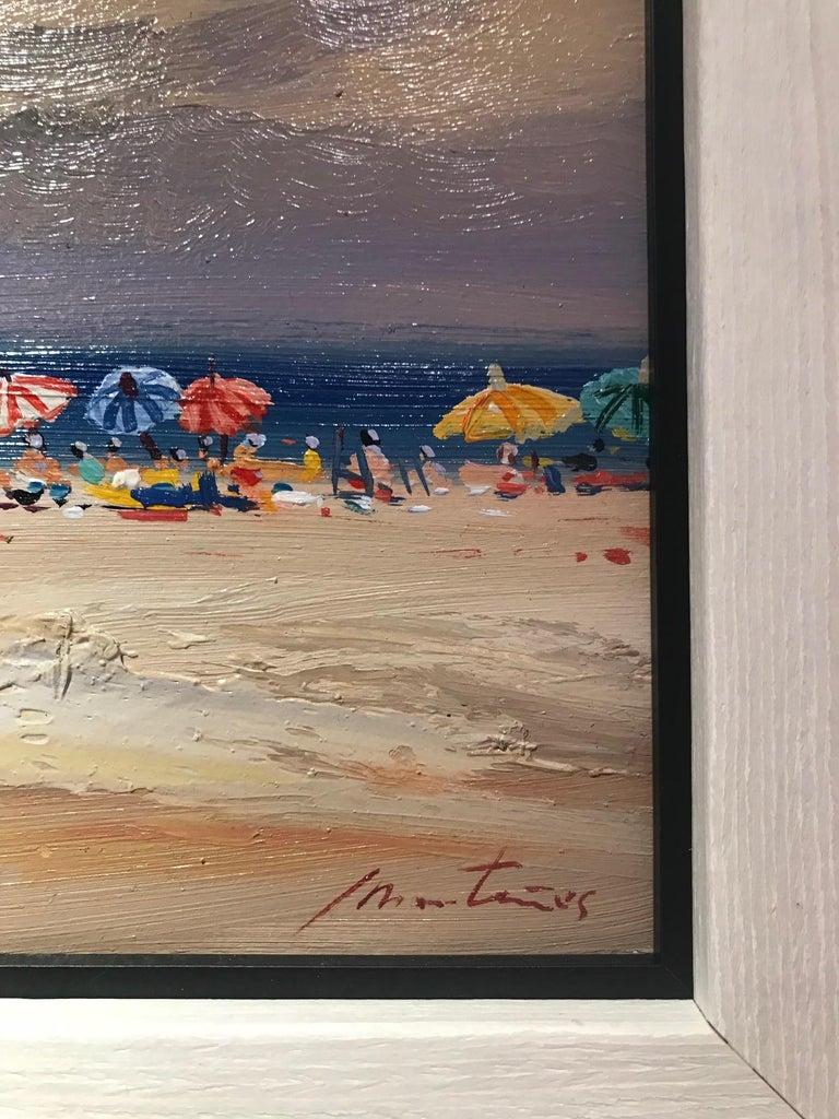 Contemporary Landscape Beach Scene and Parasols 'Beach Huts' by E. Martinez  1