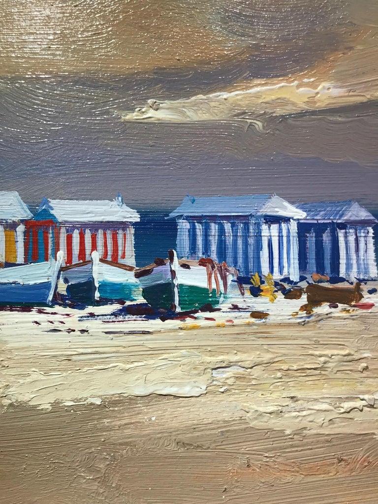 Contemporary Landscape Beach Scene and Parasols 'Beach Huts' by E. Martinez  2