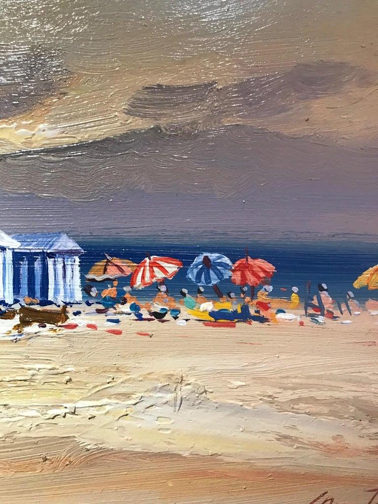 Contemporary Landscape Beach Scene and Parasols 'Beach Huts' by E. Martinez  3