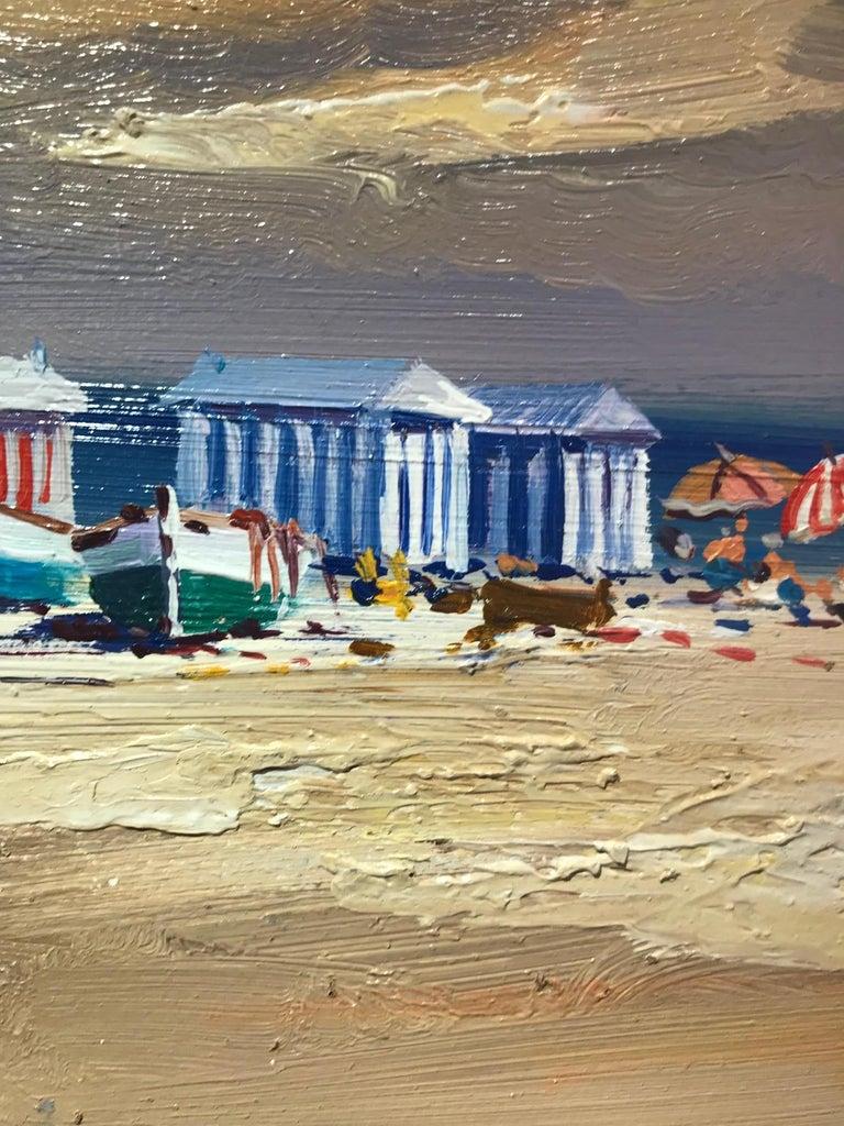 Contemporary Landscape Beach Scene and Parasols 'Beach Huts' by E. Martinez  4