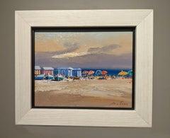 Contemporary Landscape Beach Scene and Parasols 'Beach Huts' by E. Martinez