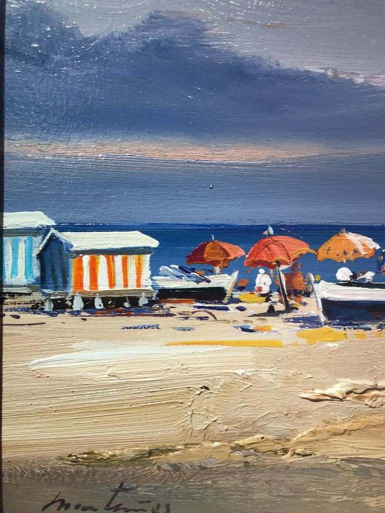 Contemporary Vivid Blue Seascape & Beach Scene 'Beach Day', blues, pinks, yellow - Painting by E. Martinez