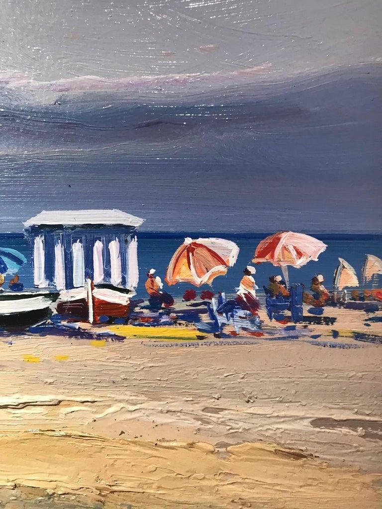 Contemporary Vivid Blue Seascape & Beach Scene 'Beach Day', blues, pinks, yellow - Gray Landscape Painting by E. Martinez