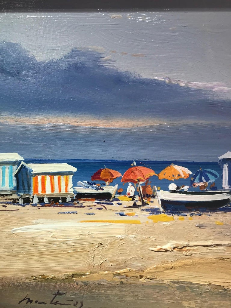 A warm and beautiful contemporary beach scene 'Beach Day' by E. Martinez. This stunning seascape has a soft and natural colour palette, pale blues and earthy cool tones are subtle and mellow. Interesting textures create a warm and balanced