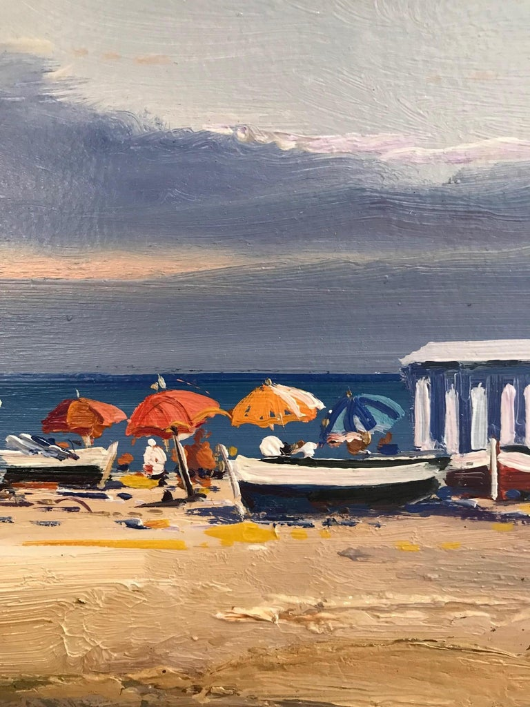 Contemporary Vivid Blue Seascape & Beach Scene 'Beach Day', blues, pinks, yellow For Sale 1