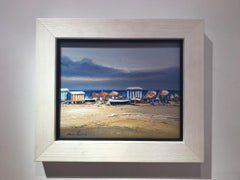 Contemporary Vivid Blue Seascape & Beach Scene 'Beach Day', blues, pinks, yellow