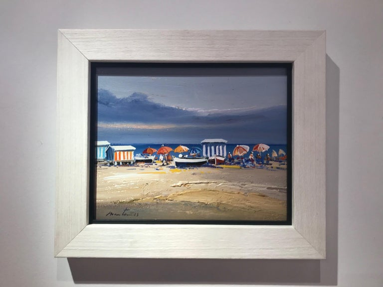 E. Martinez Landscape Painting - Contemporary Vivid Blue Seascape & Beach Scene 'Beach Day', blues, pinks, yellow