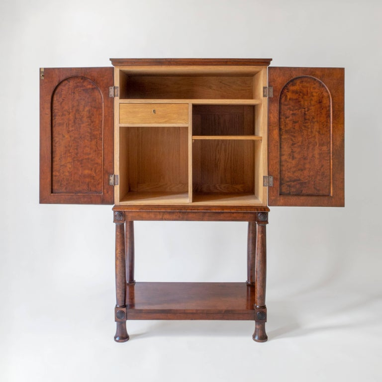 Art Deco E. Pettersson, Rare Swedish Grace Period Quilted Birch Cabinet on Stand For Sale
