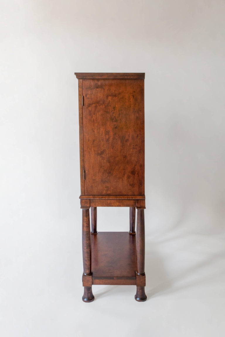 20th Century E. Pettersson, Rare Swedish Grace Period Quilted Birch Cabinet on Stand For Sale