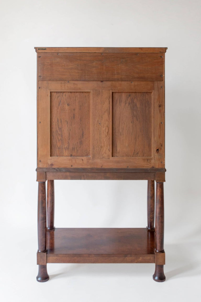 E. Pettersson, Rare Swedish Grace Period Quilted Birch Cabinet on Stand For Sale 3