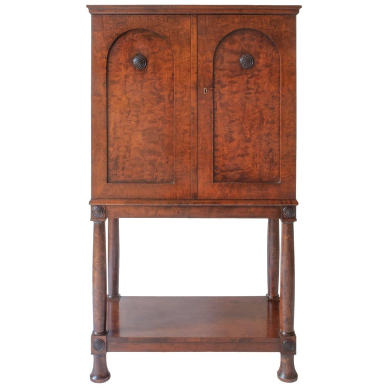 E. Pettersson, Rare Swedish Grace Period Quilted Birch Cabinet on Stand For Sale
