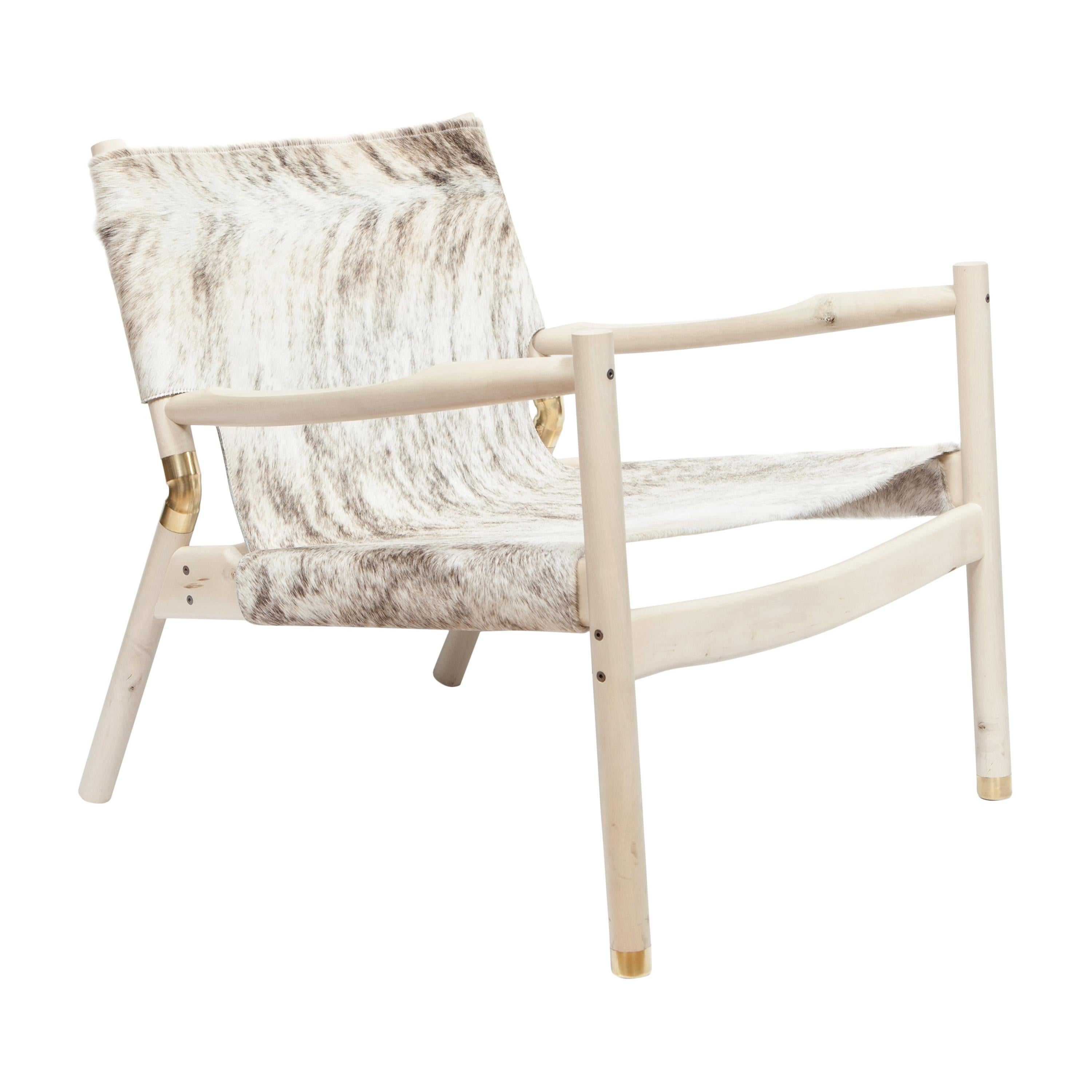 EÆ Slung Leather Lounge Chair Holly & Grey Brindle Hide by Erickson Aesthetics