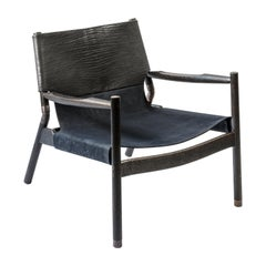 EÆ Slung Leather Lounge Chair in Bison/ Navy Nubuck Leather with Charred Oak