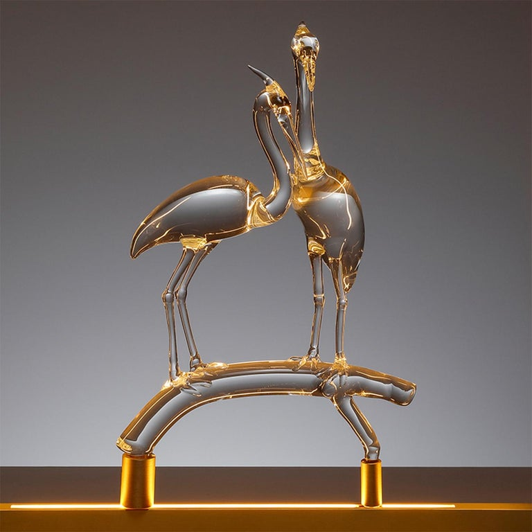 Italian E-Sumi Herons by Simone Crestani For Sale