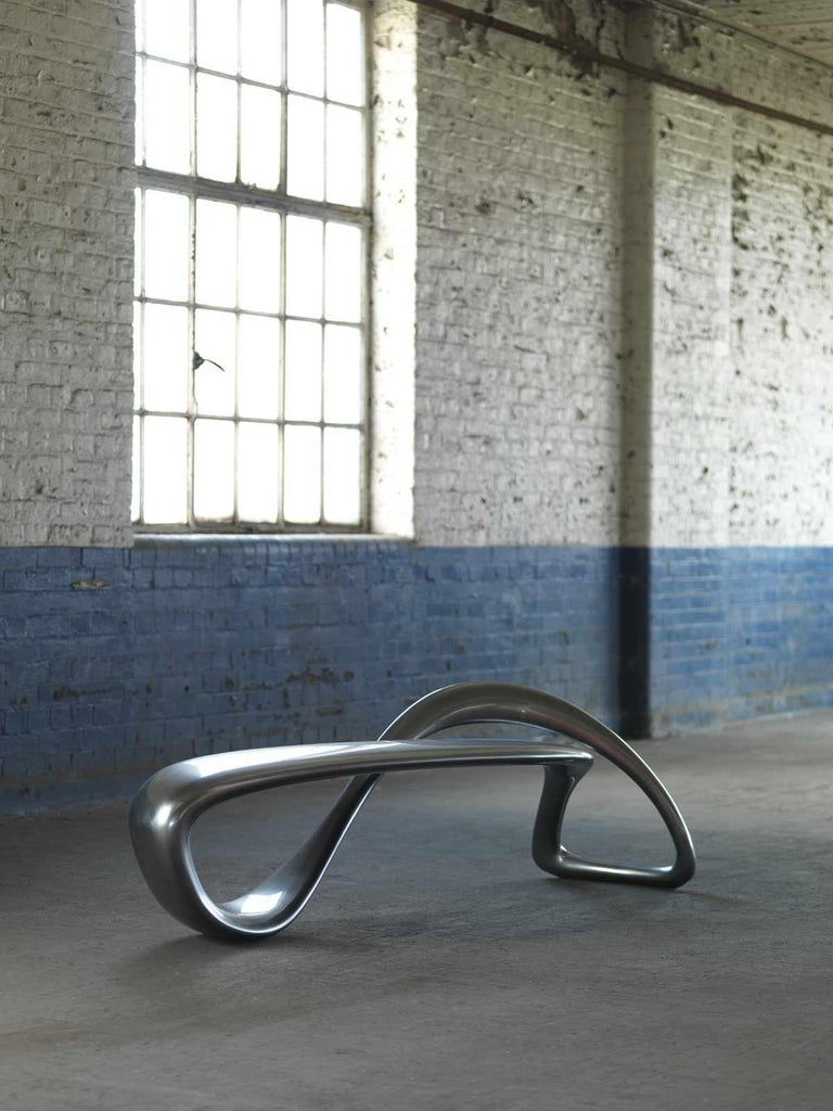 E-Turn, Chrome Fibreglass Sculptural Bench Seat by Brodie Neill For Sale 3