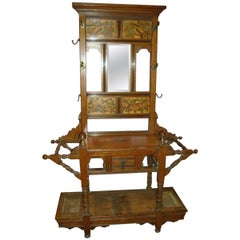 E W Godwin Style of, Anglo-Japanese Oak Hall Stand with Songbirds on Blossoms