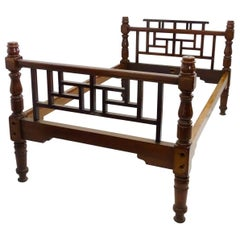 E W Godwin Style Rare Anglo-Japanese Walnut Double Bed with Lattice Work Details