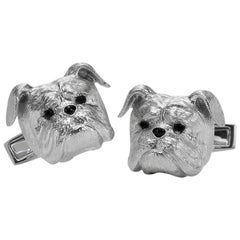 E. Wolfe & Co. 18 Karat Gold Bulldog Cufflinks with Sapphire and Black Onyx