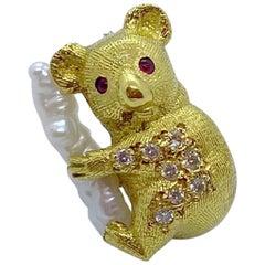 E. Wolfe & Co. 18 Karat Gold Koala Bear Brooch with .16 Carat Diamonds and Pearl