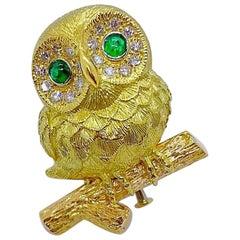 E. Wolfe & Co. 18 Karat Gold Owl Brooch .55 Carat Diamonds and Emerald Eyes