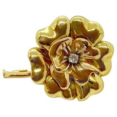 E. Wolfe & Co. 18 Karat Rose and Yellow Gold Flower Brooch with Diamond