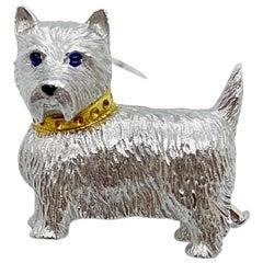 """E. Wolfe & Co. 18 Karat White Gold """"Westie"""" Dog Brooch"""