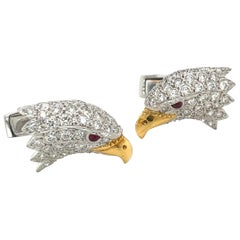 E. Wolfe & Co. 18kt White Gold Diamond 2.55ct Eagle Head Cuff Links