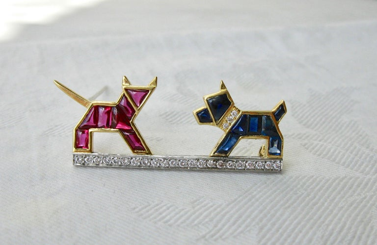 Women's E. Wolfe & Co. Art Deco Dog Cat Brooch Sapphire Ruby Diamond For Sale