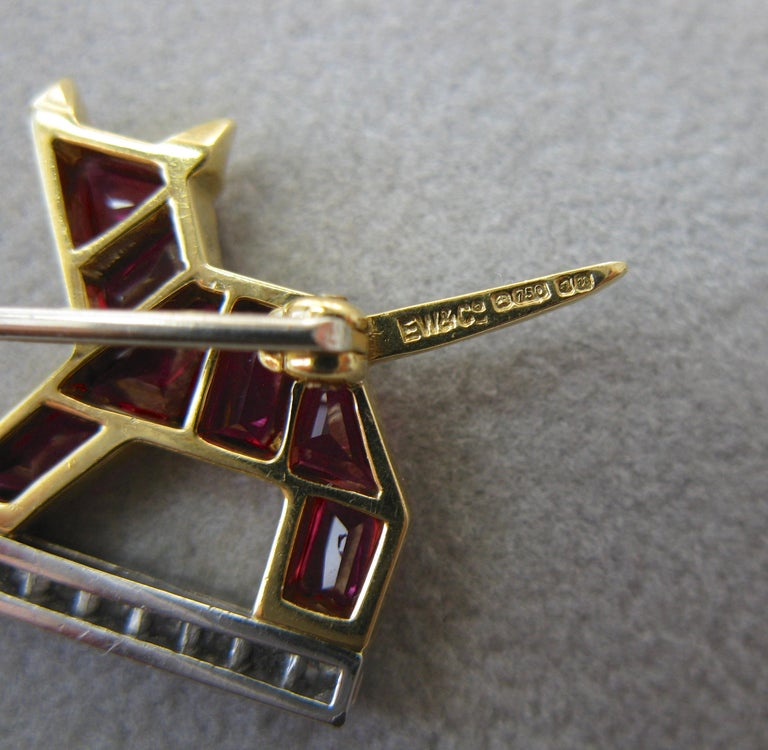 E. Wolfe & Co. Art Deco Dog Cat Brooch Sapphire Ruby Diamond For Sale 2