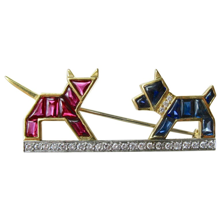 E. Wolfe & Co. Art Deco Dog Cat Brooch Sapphire Ruby Diamond For Sale