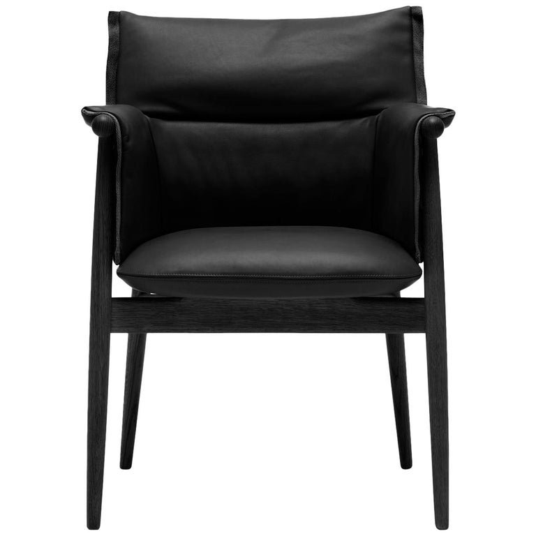 For Sale: Black (Thor 301) E005 Embrace Dining Chair in Oak Painted Black with Black Edging Strip by EOOS