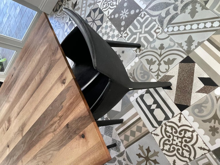 Steel E15 Anton European Walnut Top Wood Table designed by Philipp Mainzer For Sale