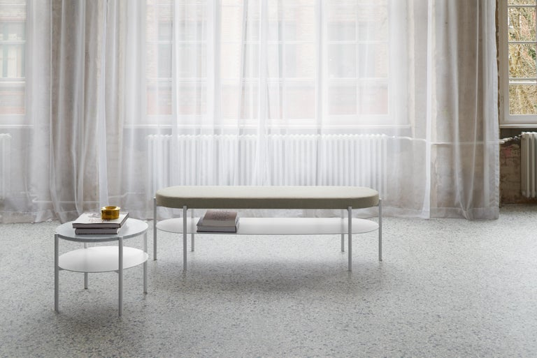 Modern e15 ELBE III Bench with Signal White Base by Marguerre, Besau and Schöning For Sale