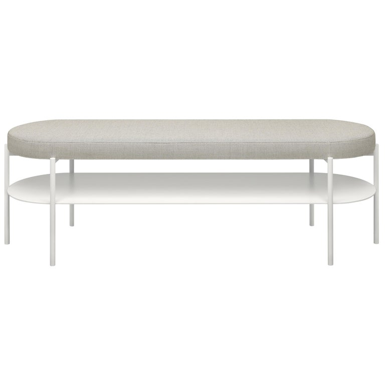 For Sale: Gray (Basel 123) e15 ELBE III Bench with Signal White Base by Marguerre, Besau and Schöning