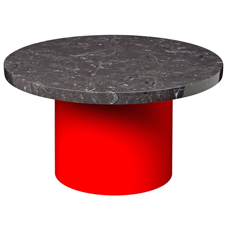 For Sale: Black (Nero Marquina) e15 Enoki Side Table with Neon Red Base by Philipp Mainzer