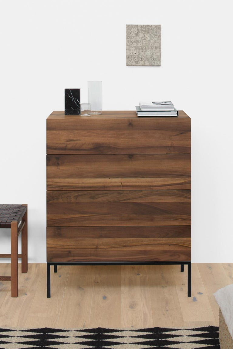Contemporary e15 Fatima Chest of Drawers with Black Steel Base by Philipp Mainzer For Sale