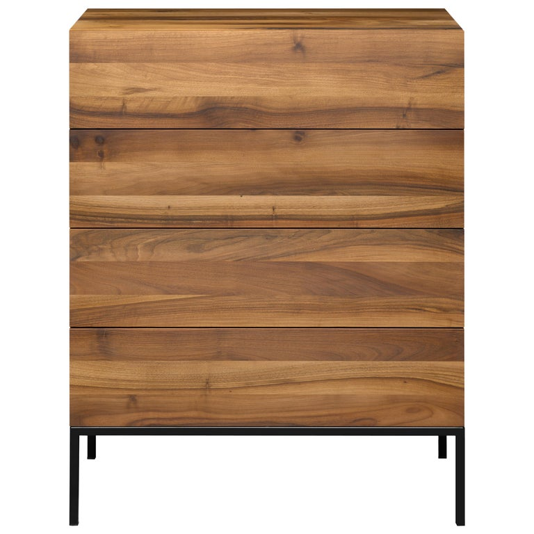 For Sale: Brown (Oiled Walnut) e15 Fatima Chest of Drawers with Black Steel Base by Philipp Mainzer