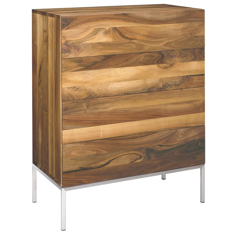 For Sale: Brown (Oiled Walnut) e15 Fatima Dresser with Stainless Steel Base by Philipp Mainzer