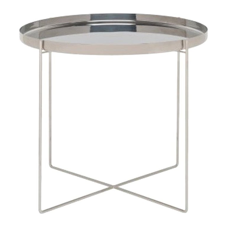 For Sale: Gray (Polished Stainless Steel) e15 Habibi Short Side Table by Philipp Mainzer