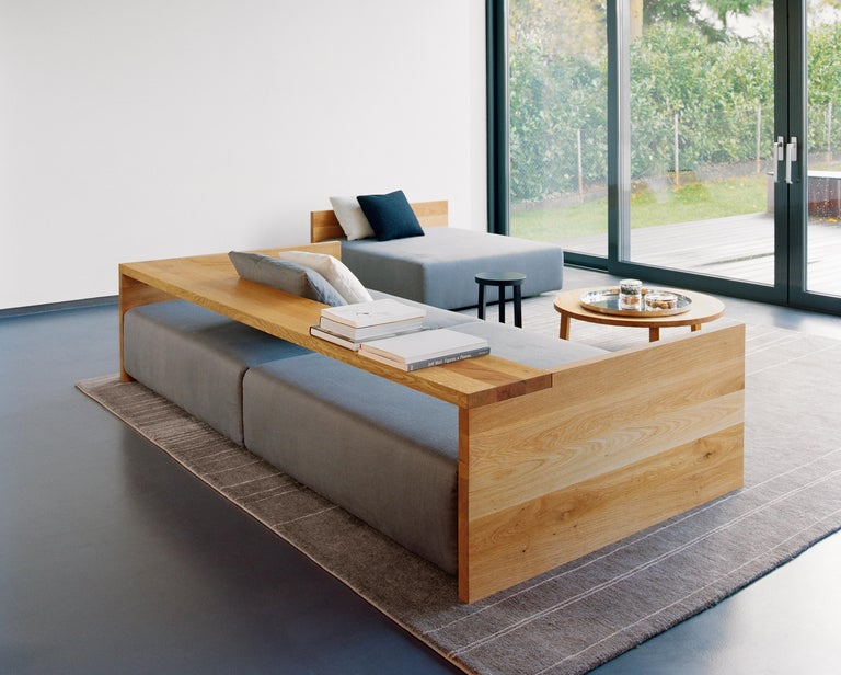 Contemporary e15 Kashan Sofa with Oak Waxed Frame by Philipp Mainzer For Sale
