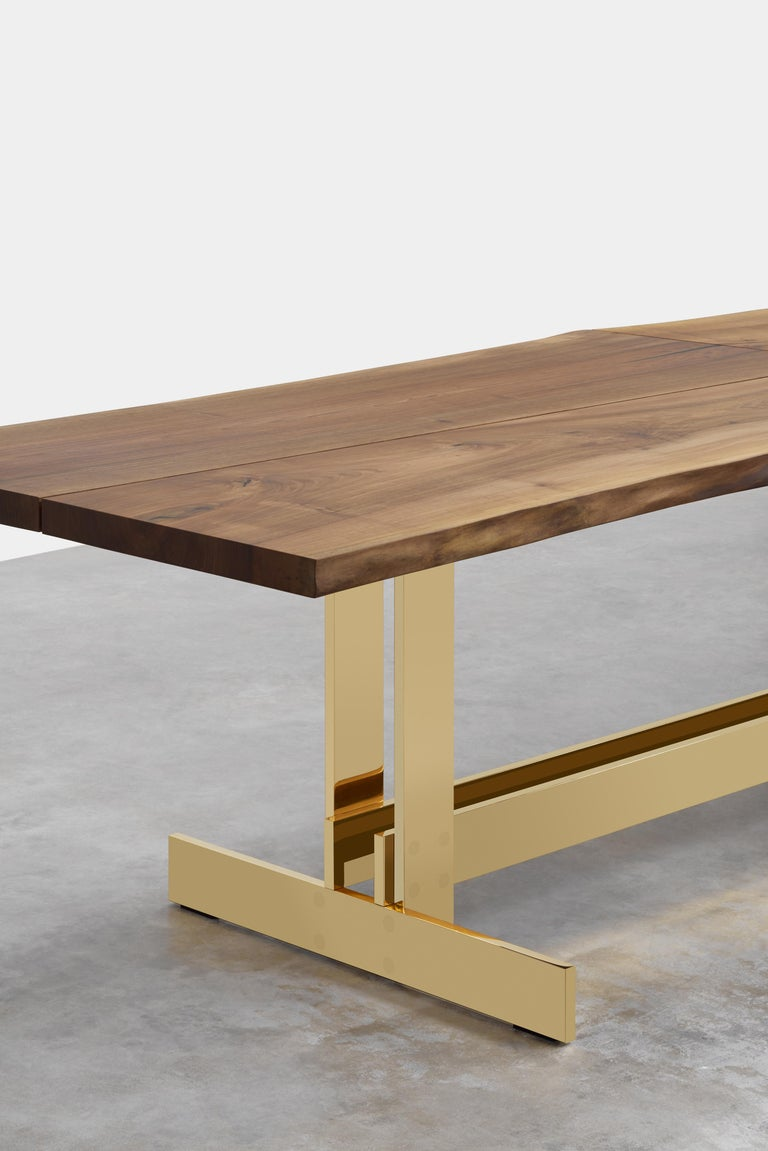 German e15 Selected Trunk II Table with Brass Polished Base by Philipp Mainzer For Sale